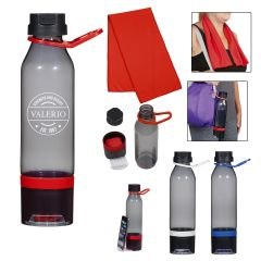 15 Oz. Energy Sports Bottle With Phone Holder And Cooling Towel
