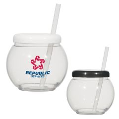 20 Oz. Fish Bowl Cup With Straw