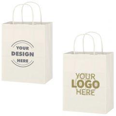 Kraft Paper White Shopping Bag - 8 Inch X 10-1/4 Inch