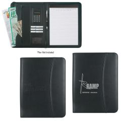 Leather Look 8 ½ Inch X 11 Inch Zippered Portfolio With Calculator
