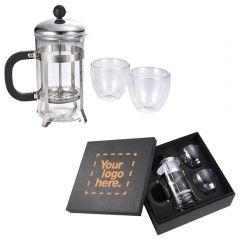 Modena Coffee Press And Glass Set