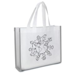 Reflective Non-Woven Coloring Tote Bag With Crayons