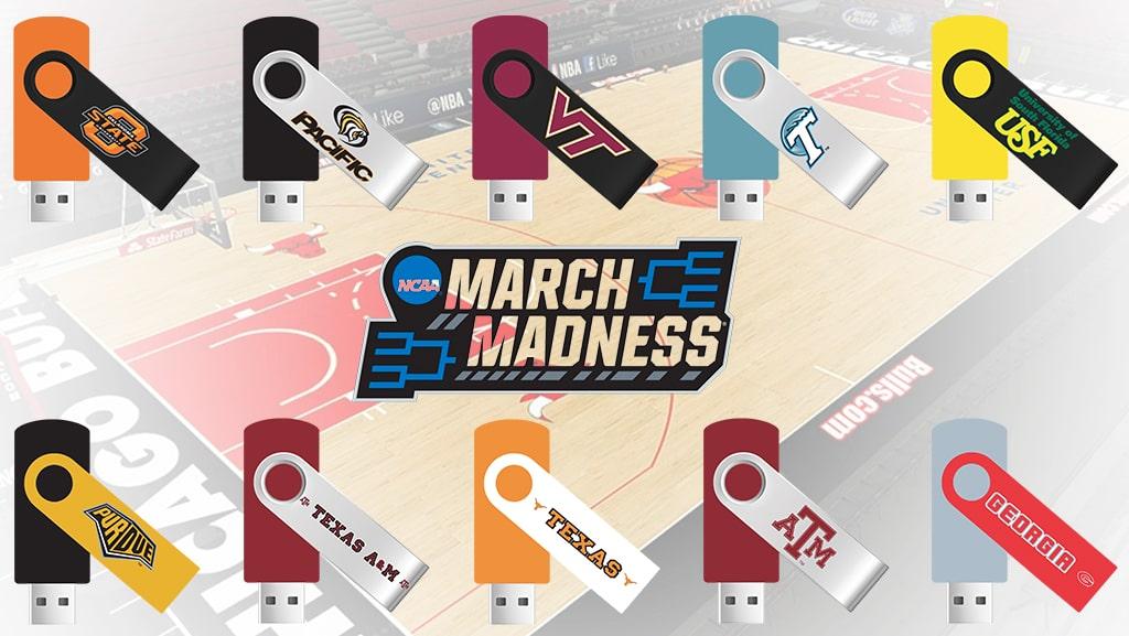 Swivel USB Flash Drive Bracket for NCAA March Madness